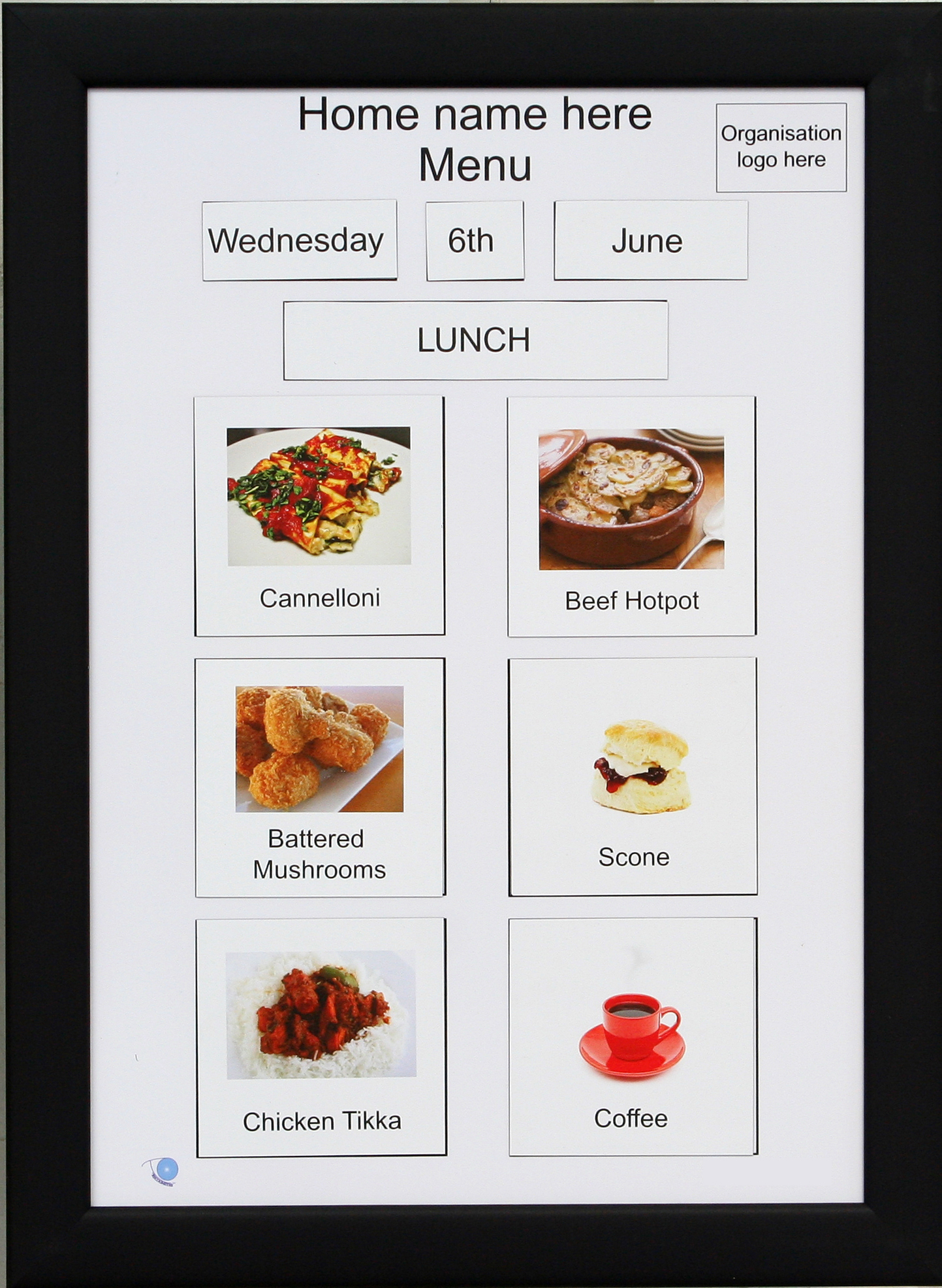 A2 Magnetic Menu Board Recogneyes Care Home And Dementia